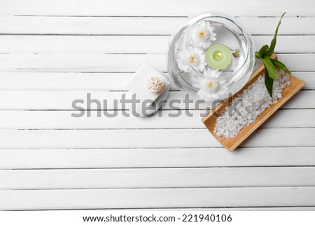Spa setting on wooden background - stock photo