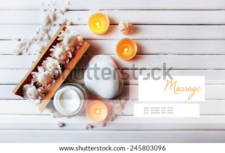 Spa setting on wooden table - stock photo