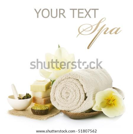 Spa setting over white - stock photo