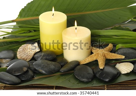Spa setting- pebbles, candles ,shell and palm leaf