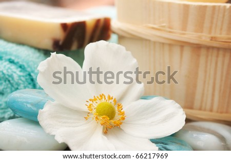 Spa setting with flower and blue candle - stock photo