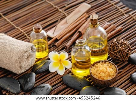 Spa setting with frangipani ,towel    - stock photo
