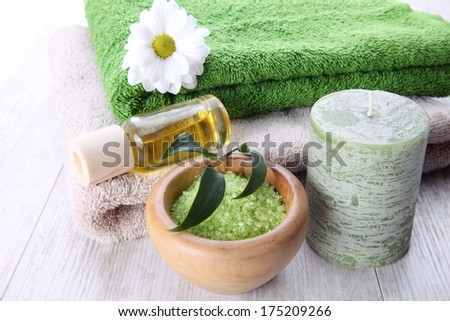 Spa setting with green accents