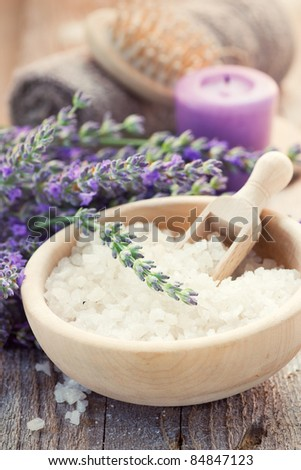 Spa setting with lavender, towel and natural soap - stock photo