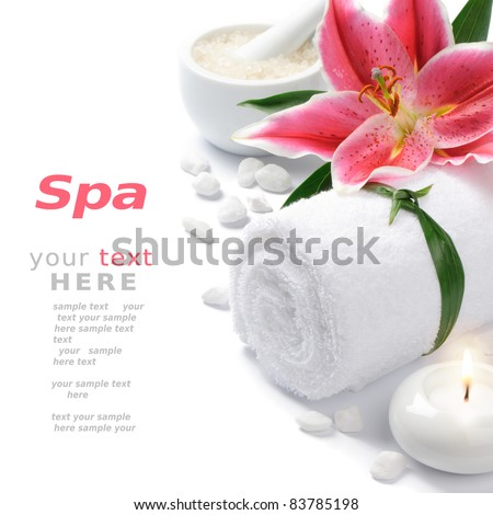 Spa setting with lily flower - stock photo
