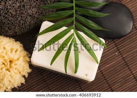 Spa setting with natural soap - stock photo