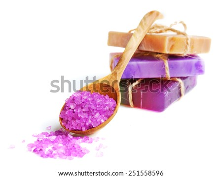 Spa setting with natural soap and sea salt - stock photo