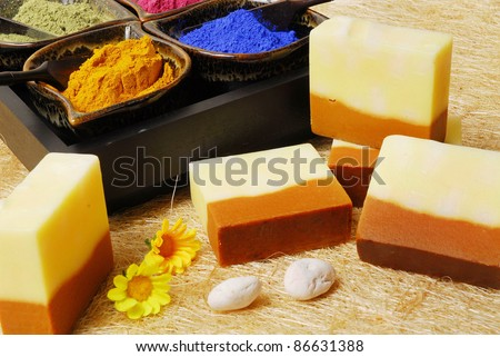Spa setting with natural soaps - stock photo