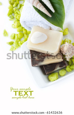 Spa setting with natural soaps, shampoo, towel and shells. Available space for your text. - stock photo