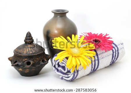 Spa settings isolated on white background - stock photo