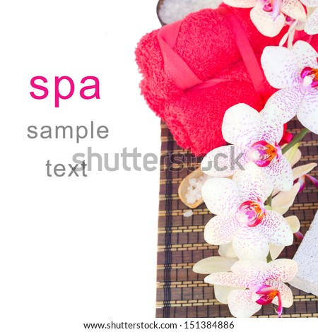 spa settings with red orchideas isolated on white background - stock photo