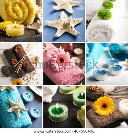 SPA still life (collage) with towel, candles and flowers on a wooden surface - stock photo