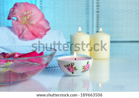 spa still life on blue background - stock photo