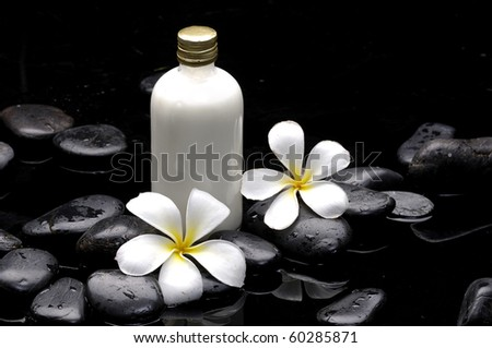 Spa still life with bottle of essential oil