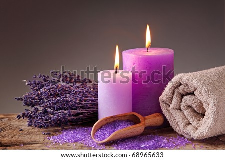 Spa still life with candles and lavender - stock photo