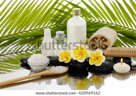 Spa still life with frangipani ,palm  - stock photo