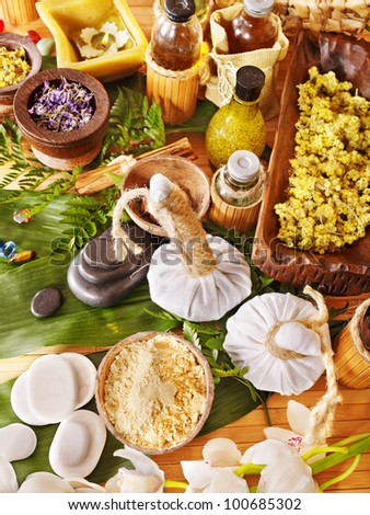 Spa still life  with herbal thai ball and stone.. - stock photo