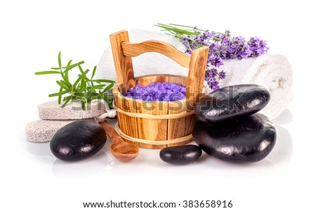 Spa still life with lavender salt and black stone isolated on white background - stock photo