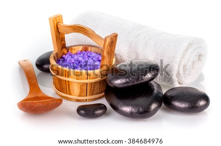 Spa still life with lavender salt black stone and white towel isolated on background - stock photo