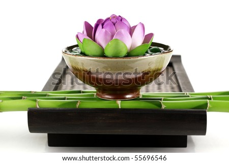 Spa still life with lotus flower and bamboo
