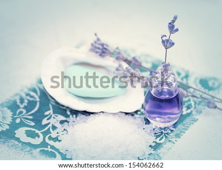 Spa still life with sea salt and lavender - stock photo