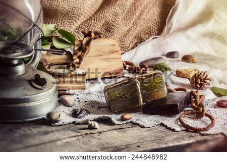 Spa still life with soap for a bath in a rustic style. - stock photo
