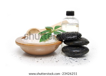 spa stones and bath salts - stock photo