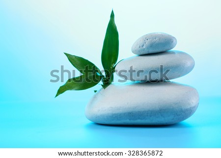 Spa stones and eaves on blue background - stock photo