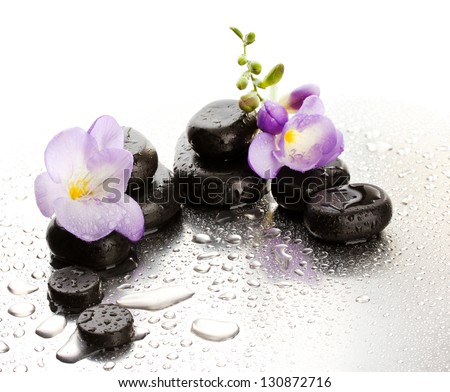 Spa stones and purple flower, on wet background - stock photo
