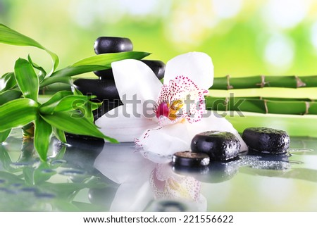 Spa stones, bamboo branches and white orchid on table on natural background - stock photo