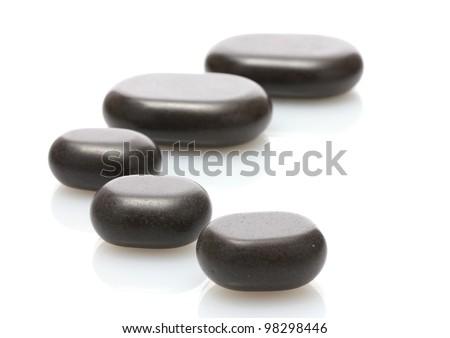 Spa stones isolated on white - stock photo