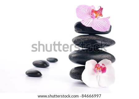 Spa stones with pink flower on white background