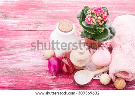 spa stuff on wooden background - stock photo