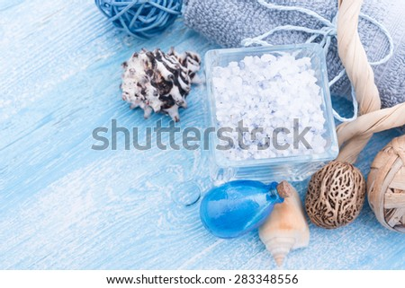 Spa stuff with sea salt and shell - stock photo