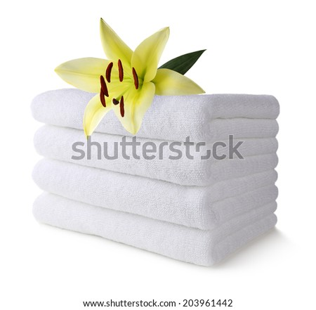 Spa towel with lily flower - stock photo