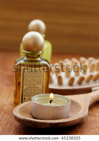 Spa treatment .beautiful spa background. Natural Cosmetics . cream and shampoo - stock photo