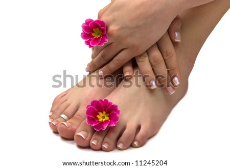 Spa treatment with beautiful exotic flowers - stock photo