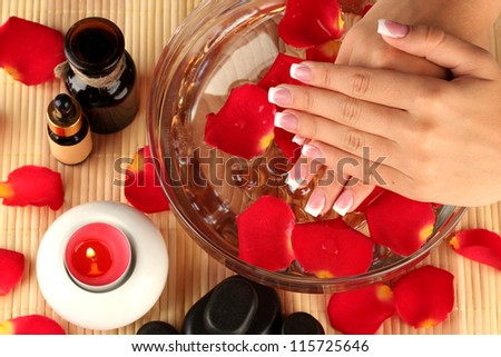 spa treatments for female hands, close-up - stock photo