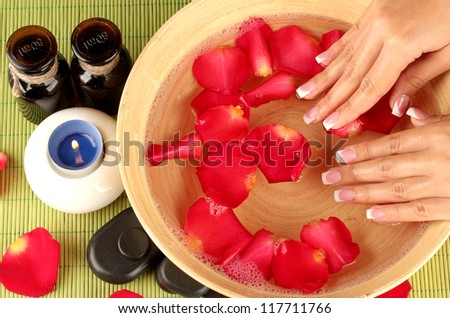 spa treatments for female hands,  close-up