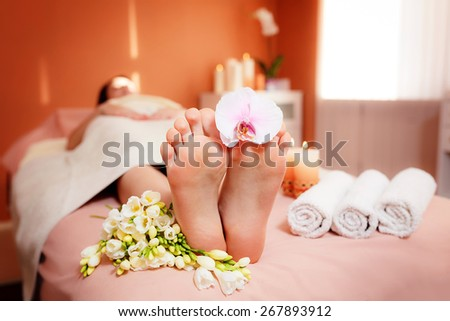 Spa treatments for the feet.  - stock photo