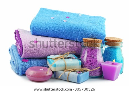 Spa treatments isolated on white. - stock photo
