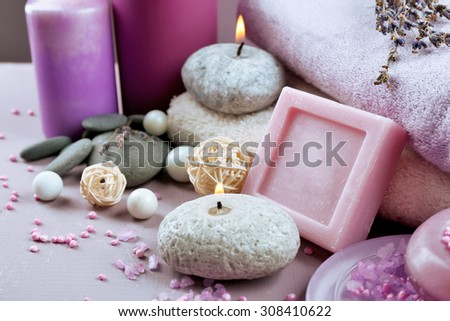 Spa treatments on colorful background. Lavender spa concept - stock photo