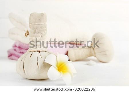 Spa treatments on light background - stock photo
