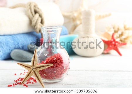Spa treatments on light background. Sea spa concept - stock photo