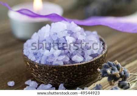 Spa treatments.Sea salt - stock photo