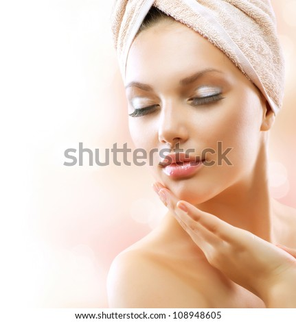 Spa woman beautiful girl after bath stock photo 108948605 for A little luxury beauty salon