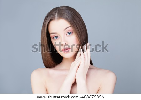Spa Woman. Skin Care Concept. Healthy Woman with Clear Skin - stock photo