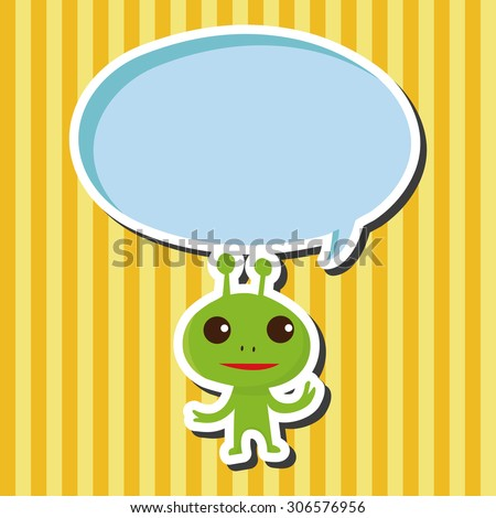 Space alien, cartoon speech icon