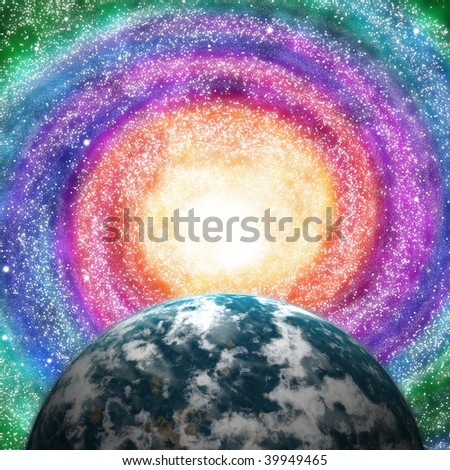 Space and astronomy. A congestion of stars and planet - stock photo