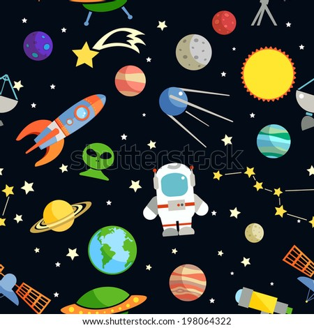 Space and astronomy decorative symbols seamless pattern  illustration